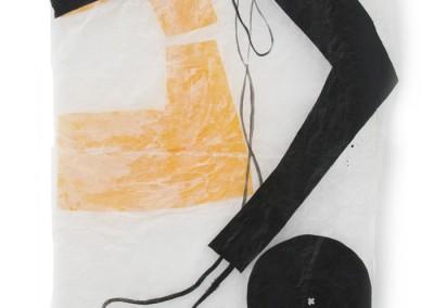 équilibre  precaire, 2008, Acryl, Collage, Wachs auf Japanpapier, 250 x 97cm