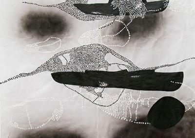 01 Innere Spur (Dahab) I, 2013, Acryl, Sprühlack, Wachs auf Japanpapier, 325 x 195 cm