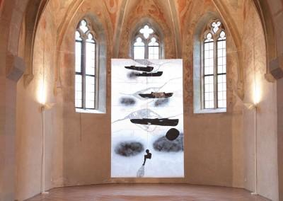 01 Transit-Überleben - Innere Spur, 2013, Acryl, Sprühlack, Wachs auf Japanpapier, 325 x 196 cm, Stadtmuseum im Spital, Crailsheim