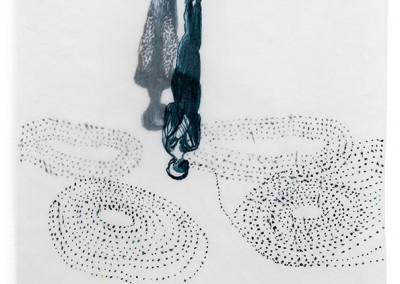 01 apnoe II, 2014, Tusche, Collage, Wachs auf Japanpapier, 31 x 24 cm