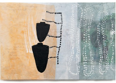 01 traces humaines II, 2013, Acryl, Wachs, Collage auf Holz, 40 x 60 cm