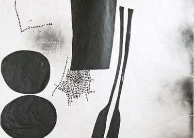 02 Innere Spur (Paddel) I, 2013, Acryl, Sprühlack, Wachs auf Japanpapier, 325 x 195 cm