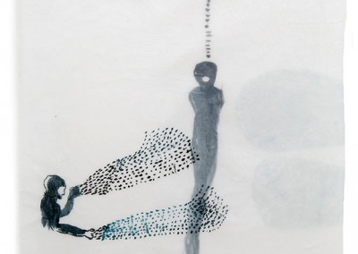 02 apnoe II, 2014, Tusche, Collage, Wachs auf Japanpapier, 31 x 24 cm