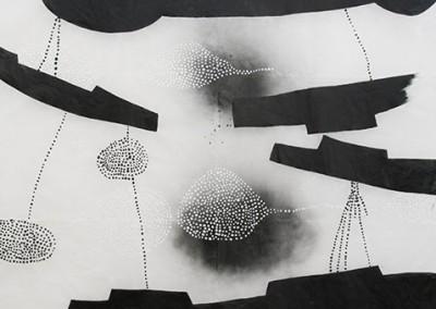 03 Innere Spur I, 2013, Acryl, Sprühlack, Wachs auf Japanpapier, 325 x 195 cm
