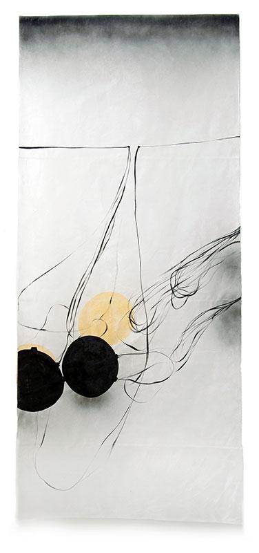 03 contact - labile Zone, 2011, Acryl, Sprühlack, Collage, Wachs auf Japanpapier, 220 x 97 cm