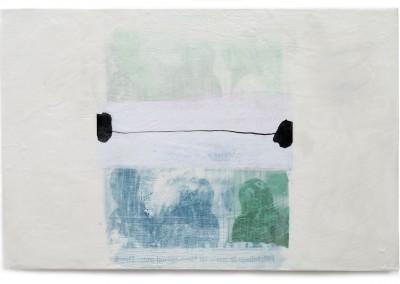 03 transit - überleben II, 2013, Acryl, Wachs, Collage auf Holz, 40 x 60 cm