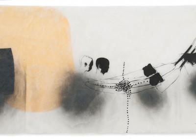 04 innere Spur (Überfahrt), 2012, Acryl, Sprühlack, Collage, Wachs auf Japanpapier, 78 x 145 cm