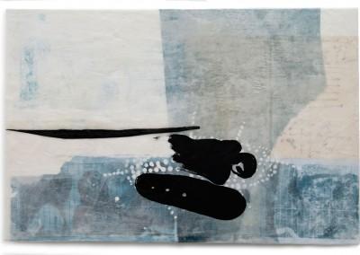 04 transit -überleben I, 2013, Acryl, Wachs, Collage auf Holz, 40 x 60 cm