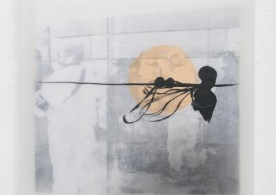 05 Fukushima I, 2012, Acrylfarbe, Collage, Wachs auf Holz, 35 x 35 cm