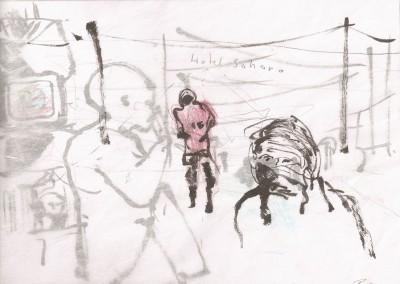 06 Hotel Sahara 2010, Bleistift, Buntstift, Tusche auf Transparentpapier, 21 x 30 cm