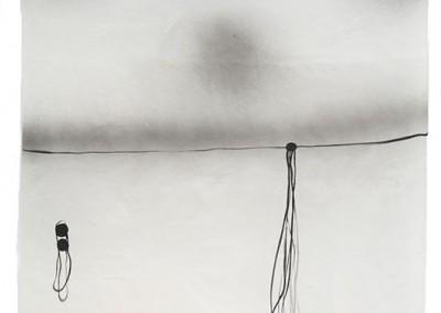 06 Serie Fährtenleser, 2010, Acryl, Sprühlack, Collage, Wachs auf Japanpapier, 97 x 63 cm