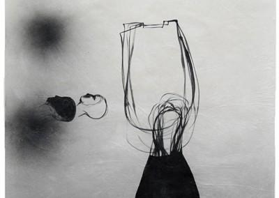 07 Dschinnen, 2010, Acryl, Sprühlack, Wachs auf Japanpapier, 97 x 63 cm