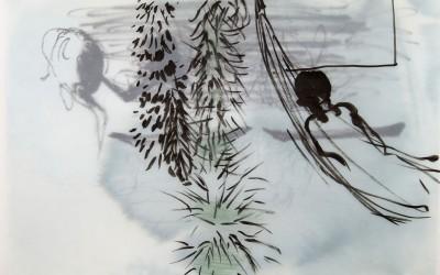 07 Im dunklen Grün, 2014, Tusche, Buntstift auf Transparentpapier, 29 x 42 cm