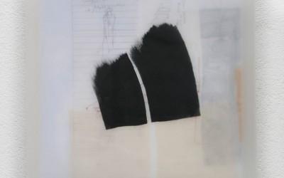 07 Schattenlicht, 2011, Acryl, Wachs, Collage auf Holz, 35 x 35 cm
