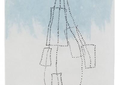 07 apnoe II, 2014, Tusche, Collage, Wachs auf Japanpapier, 31 x 24 cm