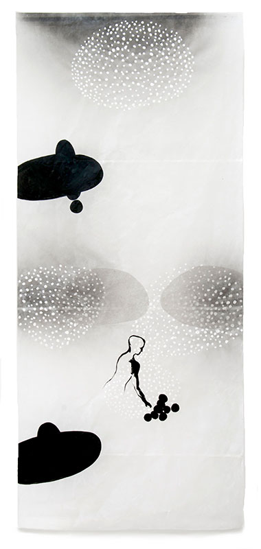 07 contact - labile Zone, 2011, Acryl, Sprühlack, Collage, Wachs auf Japanpapier, 220 x 97 cm