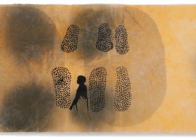 07 innere Spur III, 2012, Acryl, Sprühlack, Collage, Wachs auf Japanpapier, 78 x 145 cm