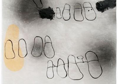 08 Serie Fährtenleser (Spuren), 2011, Acryl, Sprühlack, Collage, Wachs auf Japanpapier, 97 x 63 cm