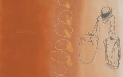 08 Ténéré (Wind und Wege), 2011, Pastellkreide, Buntstift auf Papier, 62 x 43 cm