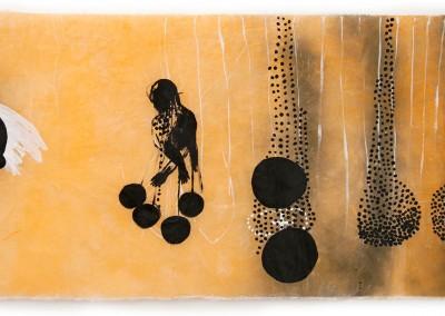 08 Innere Spur III, 2012, Acryl, Sprühlack, Wachs auf Japanpapier,78 x 145 cm