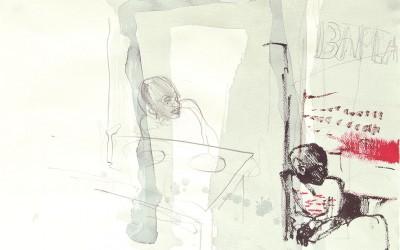 08 le Havre 2011, Tusche, Bleistift auf Bütten, 26 x 39 cm