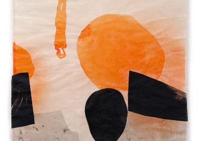 09 Apnoe II, 2014, Tusche, Collage, Wachs auf Japanpapier, 97 x 63 cm