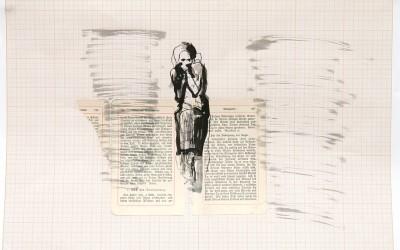 09 Paradies Glaube, 2013, Collage, Tusche auf Millimeterpapier, 29 x 42 cm