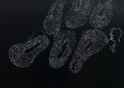 10 Nachtlauschen - flow, 2014, Ritzzeichnung auf Schabekarton, 15 x 20 cm