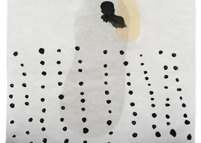 10 Serie Fährtenleser, 2010, Acryl, Sprühlack, Wachs auf Japanpapier, 97 x 63 cm