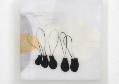 10 Traum 2010, Acryl, Collage, Wachs auf Holz, 35 x 35 cm