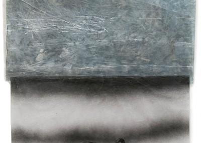 11 Kalter Wind, 2011, Acryl, Sprühlack, Collage, Wachs auf Japanpapier, 97 x 65 cm