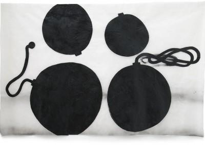 11 gefährdetes Gleichgewicht, 20010, Acryl, Wachs auf Japanpapier, 143 x 225 cm