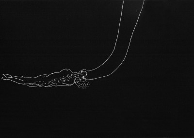 12 Nachtlauschen-flow, 2014, Ritzzeichnung auf Schabekarton, 15 x 20 cm