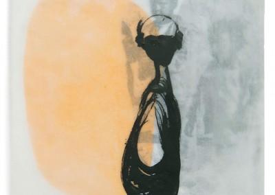 12 enfant perdu, 2012, Acryl, Collage, Wachs auf Holz, 15 x 15 cm