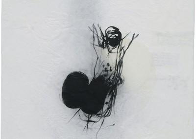 13 Nomade (Tänzer), 2011, Acryl, Collage, Wachs auf Holz, 50 x 50cm