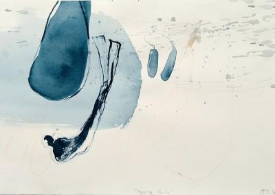 13 eingetaucht, 2013, Tusche, Buntstift auf Bütten, 26 x 39 cm