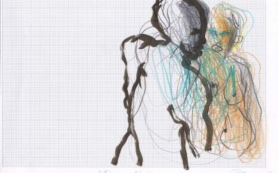 14 Paradies Liebe, 2013, Buntstift, Tusche auf Millimeterpapier, 21 x 30 cm