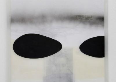14 Schattenlicht II, 2009, Acryl, Collage, Wachs auf Holz, 54 x 54 cm