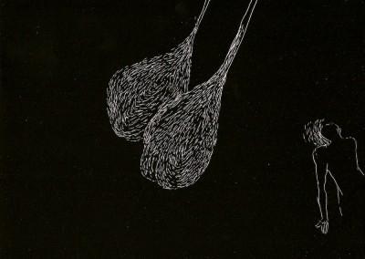 14 Serie Nachtspuren - kleine Trance, 2008, Ritzzeichnung auf Schabekarton, 15x20 cm