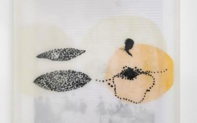 15 Schattenlicht, 2009, Acryl, Collage, Wachs auf Leinwand, 54 x 54 cm