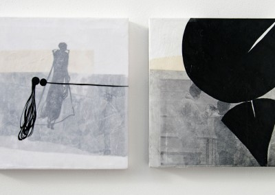 15 schwer-leicht, 2012, Acryl, Wachs, Collage auf Holz, je 30 x 30 cm