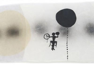 16 Schamane, 2010, Acryl, Collage, Wachs auf Japanpapier, 28 x 48 cm