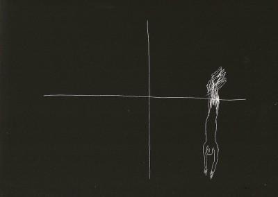 16 Serie Nachtspuren - kleine Trance, 2008, Ritzzeichnung auf Schabekarton, 15x20 cm