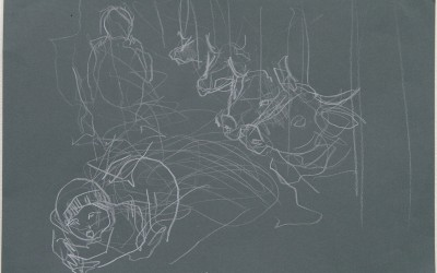 16 Still, 2014, Buntststift auf grauem Bütten, 21 x 30 cm