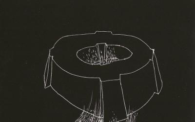 17 Serie Nachtspuren - kleine Trance, 2008, Ritzzeichnung auf Schabekarton, 15x20 cm