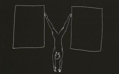 18 Serie Nachtspuren - kleine Trance, 2008, Ritzzeichnung auf Schabekarton, 15x20 cm