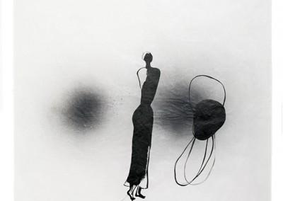 18 Tänzerin, 2011, Acryl, Sprühlack, Wachs auf Japanpapier, 97 x 63 cm