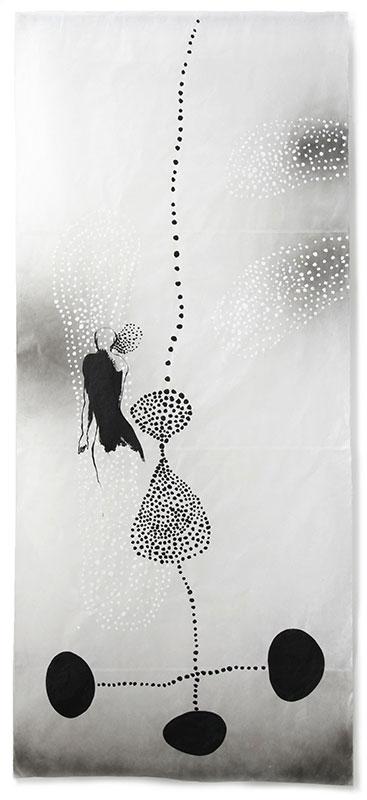 18 traces humaines, 2011, Acryl, Sprühlack, Collage, Wachs auf Japanpapier, 220 x 97 cm