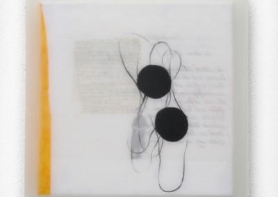 Schattenlicht, 2008, Acryl, Collage, Wachs auf Leinwand, 35x35cm