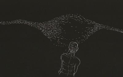 19 Serie Nachtspuren - kleine Trance, 2008, Ritzzeichnung auf Schabekarton, 15x20 cm